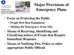 major provisions of emergency plans
