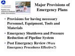 major provisions of emergency plans1
