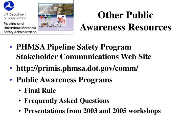 Other Public Awareness Resources