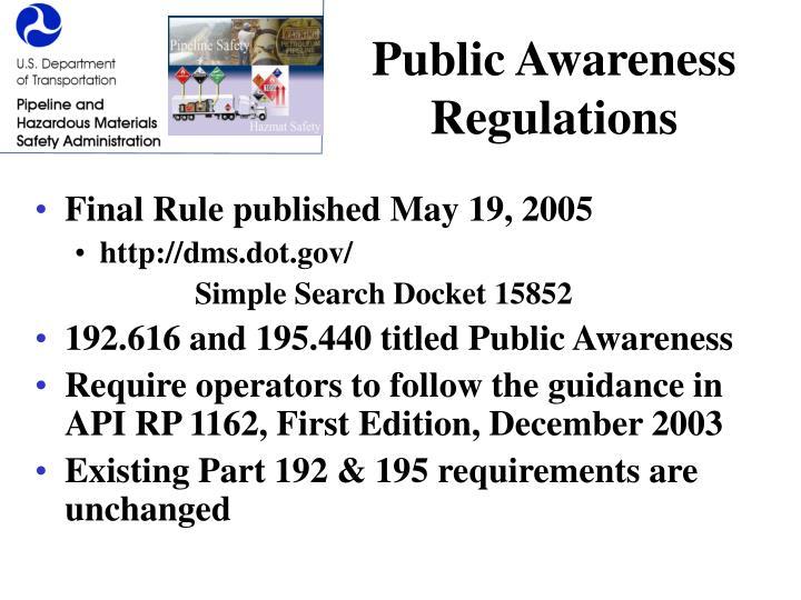 Public Awareness Regulations