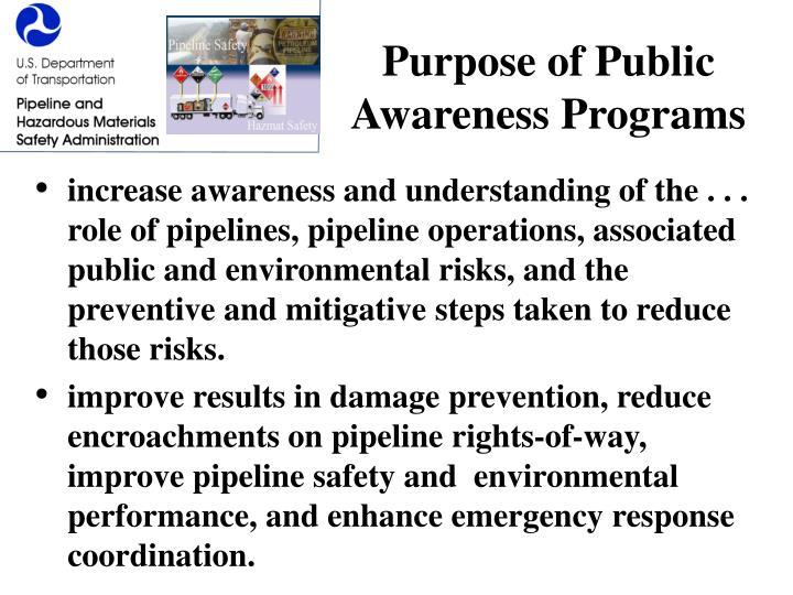 Purpose of Public Awareness Programs