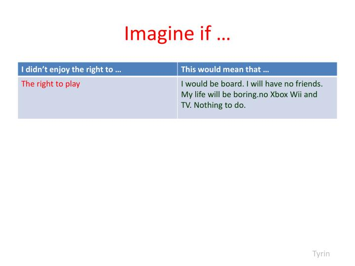 Imagine if …