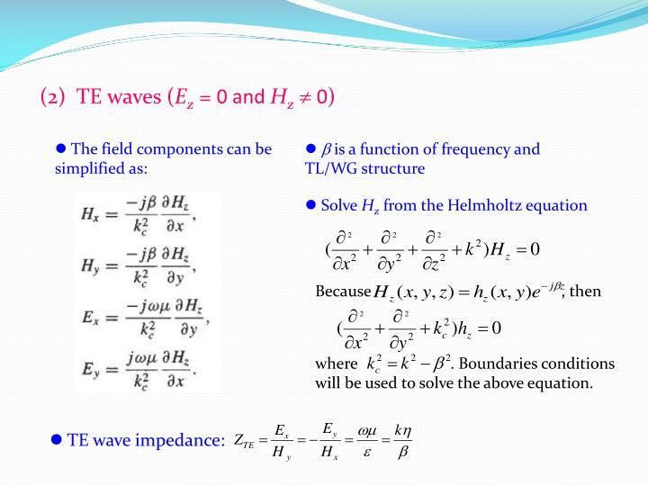 (2)  TE waves (