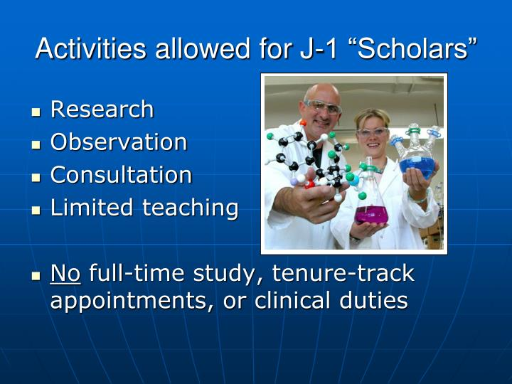 "Activities allowed for J-1 ""Scholars"""
