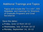 additional trainings and topics