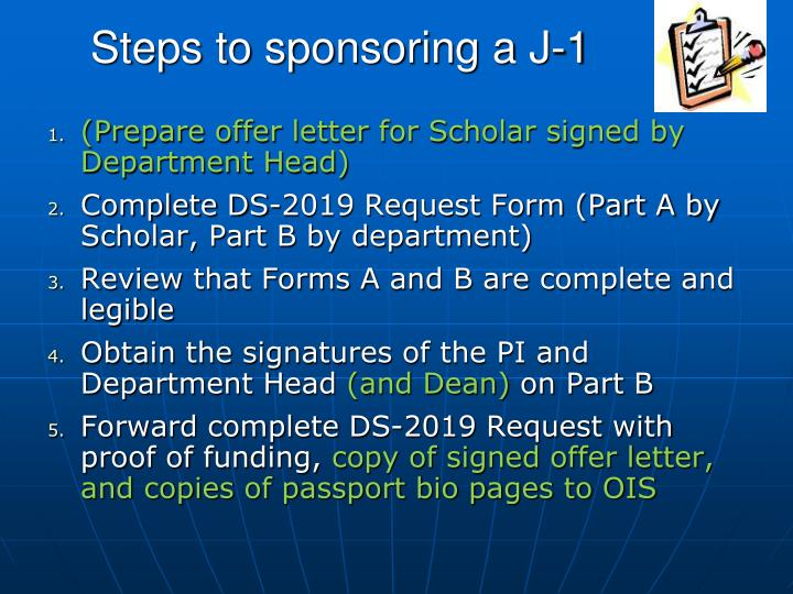 Steps to sponsoring a J-1