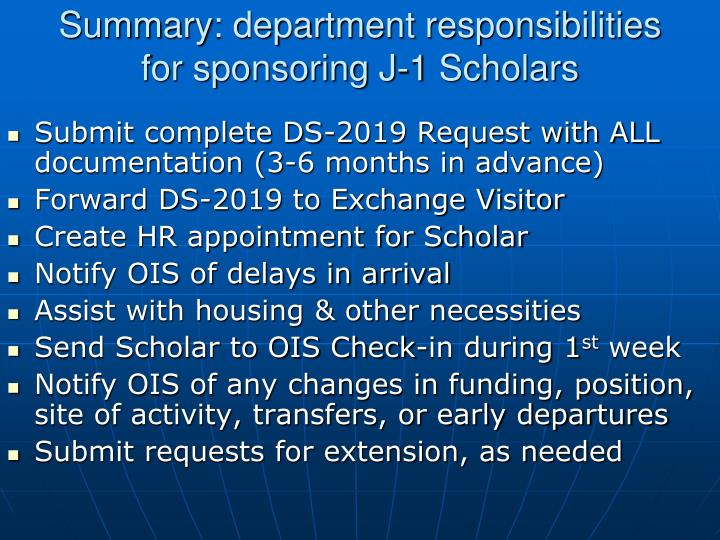 Summary: department responsibilities for sponsoring J-1 Scholars