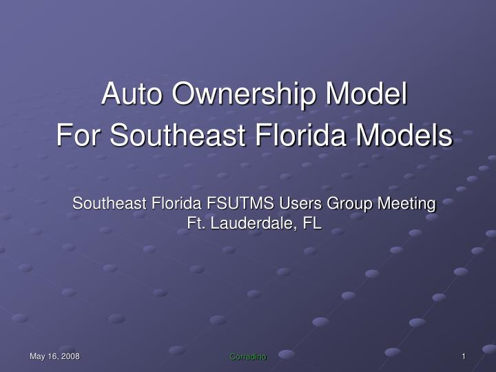 Auto Ownership Model