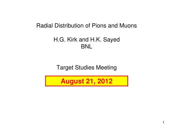 Radial distribution of pions and muons h g kirk and h k sayed bnl target studies meeting
