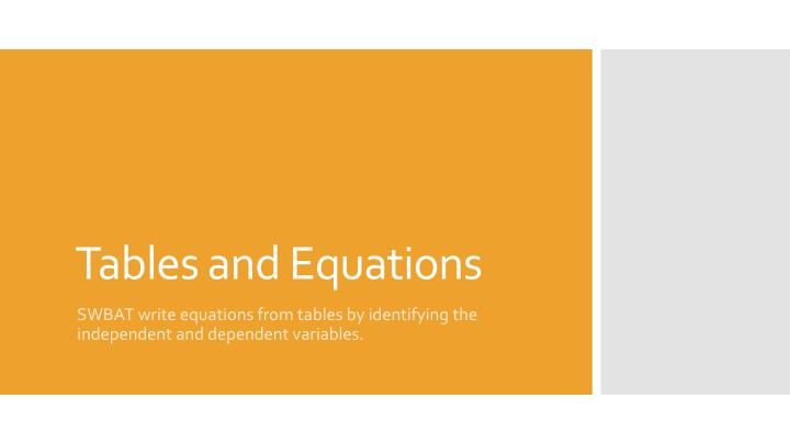 Tables and equations