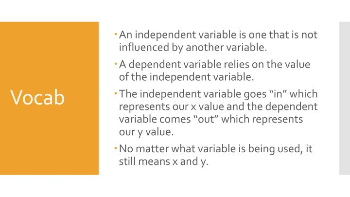 An independent variable is one that is not influenced by another variable.