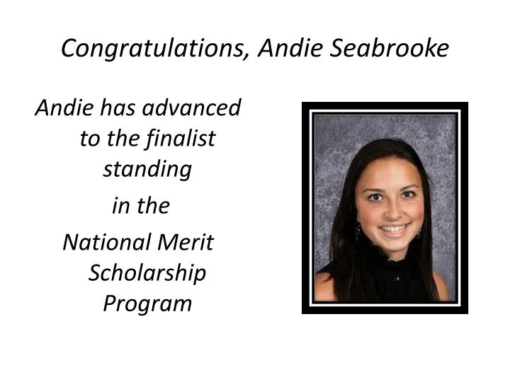 Congratulations andie seabrooke