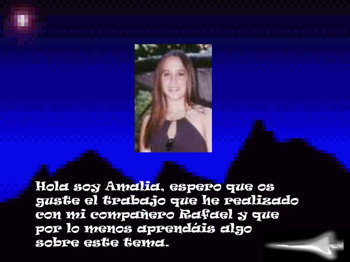 Hola soy Amalia, espero que os guste el trabajo que he realizado con mi compañero Rafael y que por lo menos aprendáis algo sobre este tema.
