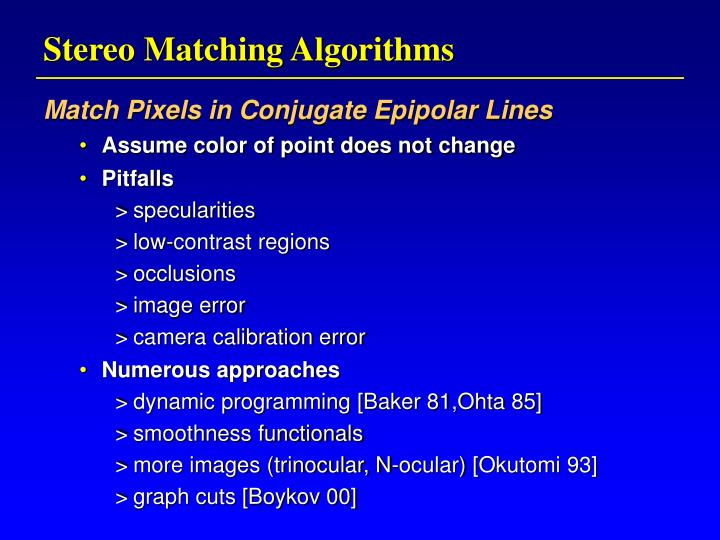 Stereo Matching Algorithms