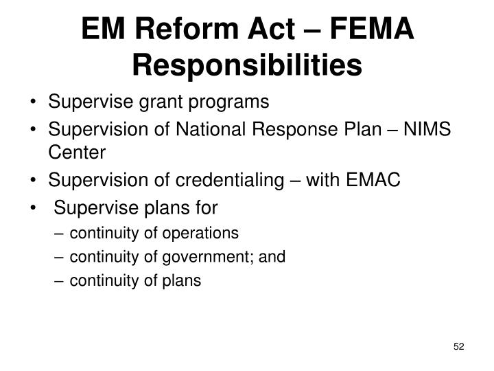 EM Reform Act – FEMA Responsibilities
