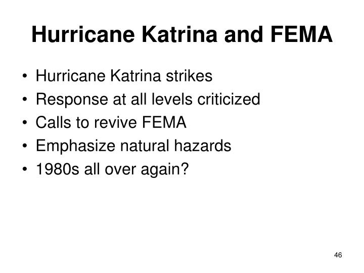 Hurricane Katrina and FEMA