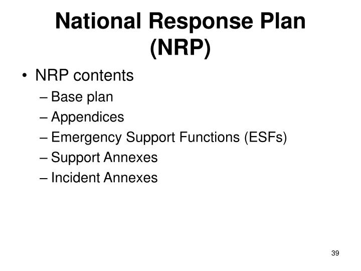 National Response Plan (NRP)