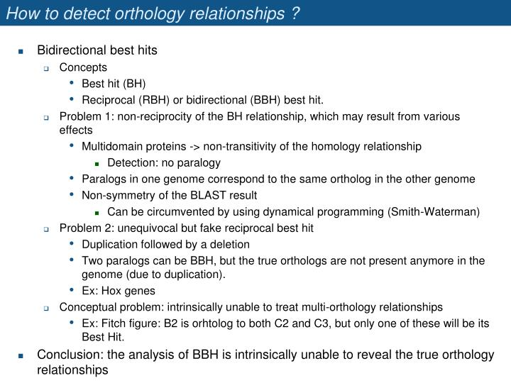 How to detect orthology relationships ?