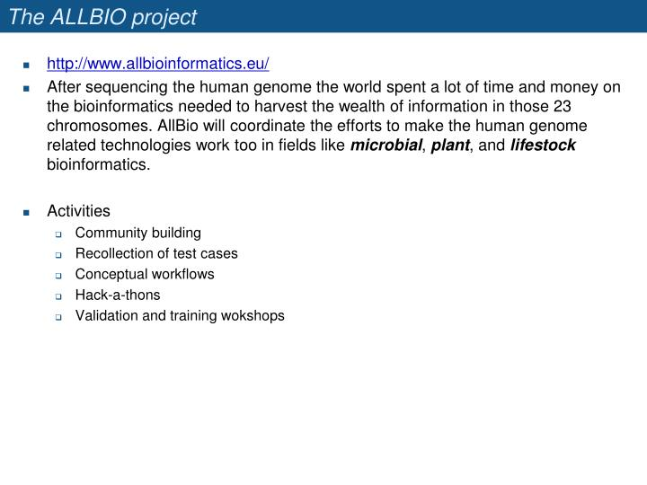 The ALLBIO project
