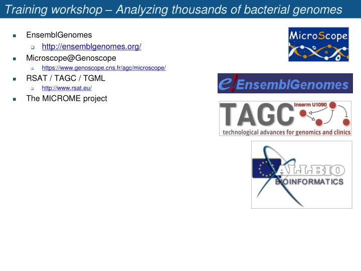 Training workshop – Analyzing thousands of bacterial genomes