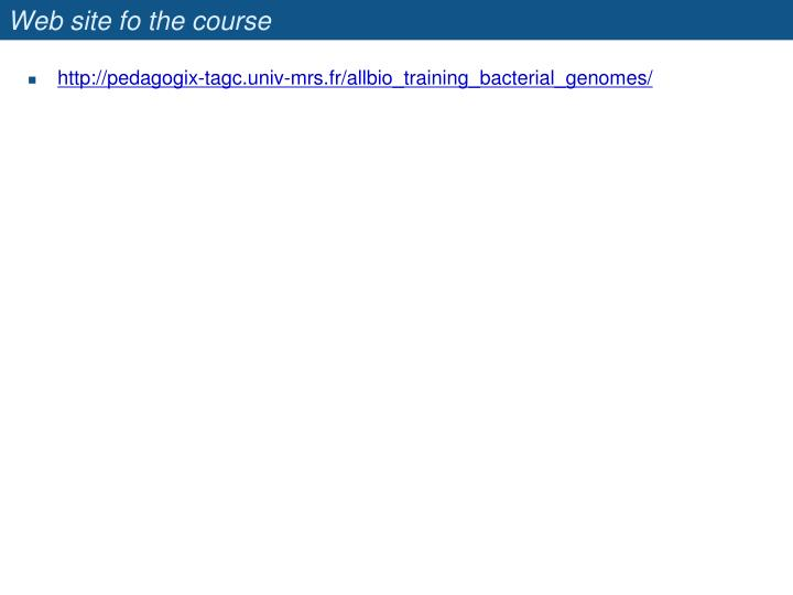 Web site fo the course