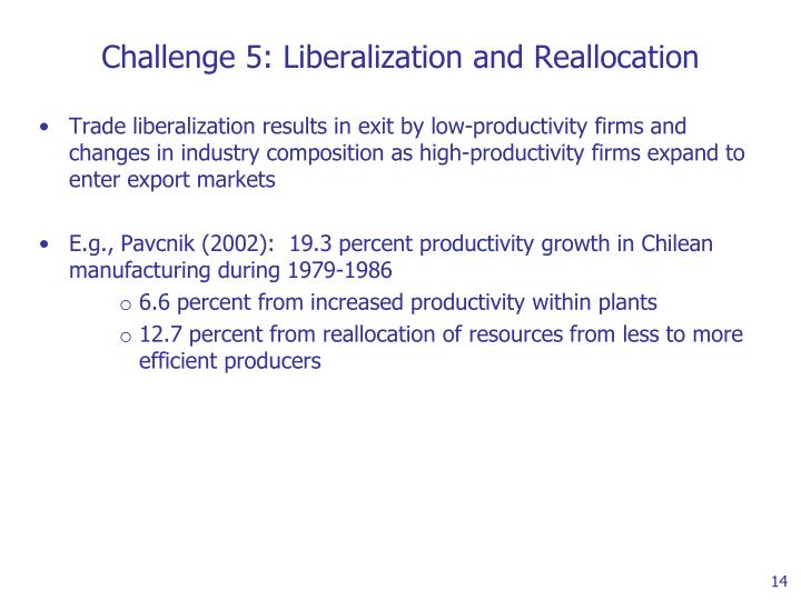 Challenge 5: Liberalization and Reallocation
