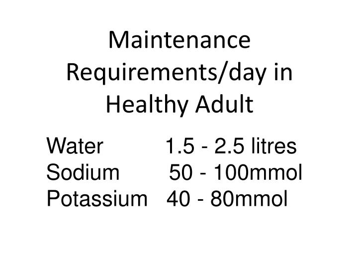 Maintenance Requirements/day in Healthy Adult