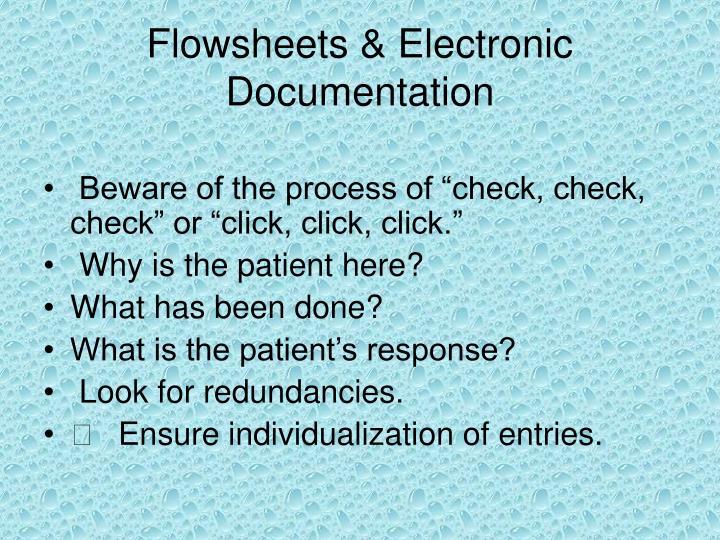 Flowsheets & Electronic