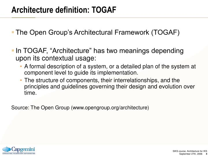 Architecture definition: TOGAF