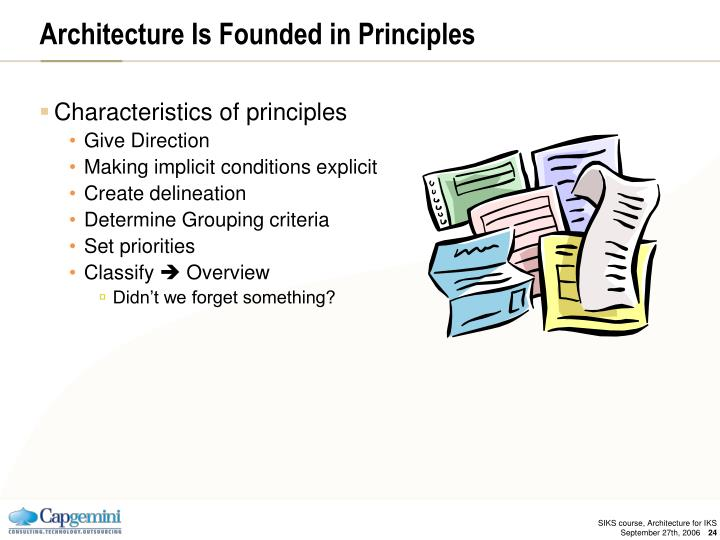 Architecture Is Founded in Principles