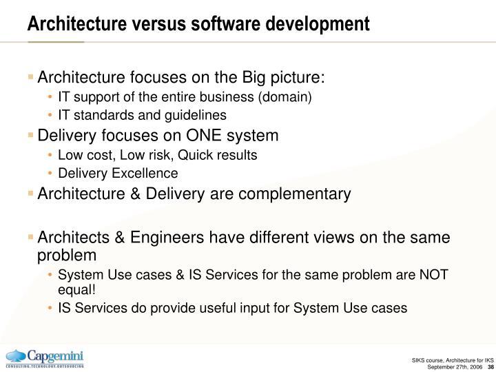 Architecture versus software development