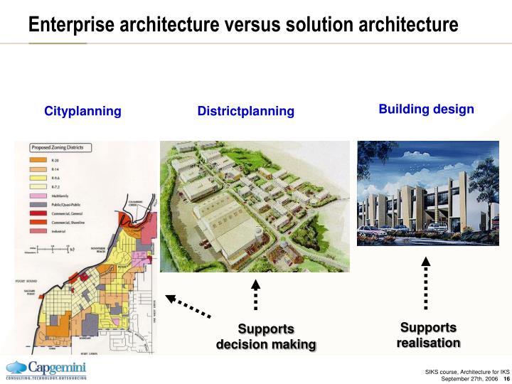 Enterprise architecture versus solution architecture