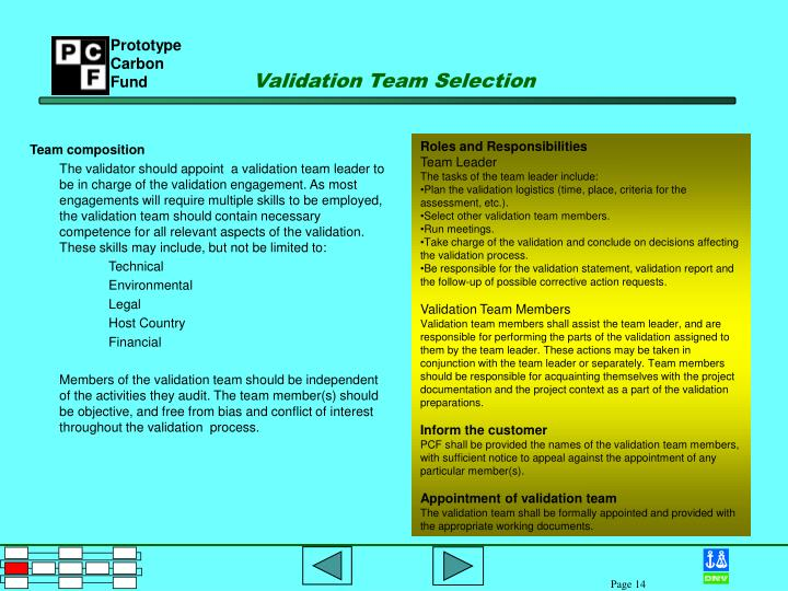 Validation Team Selection