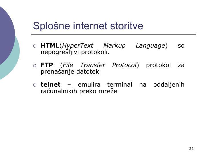 Splošne internet storitve
