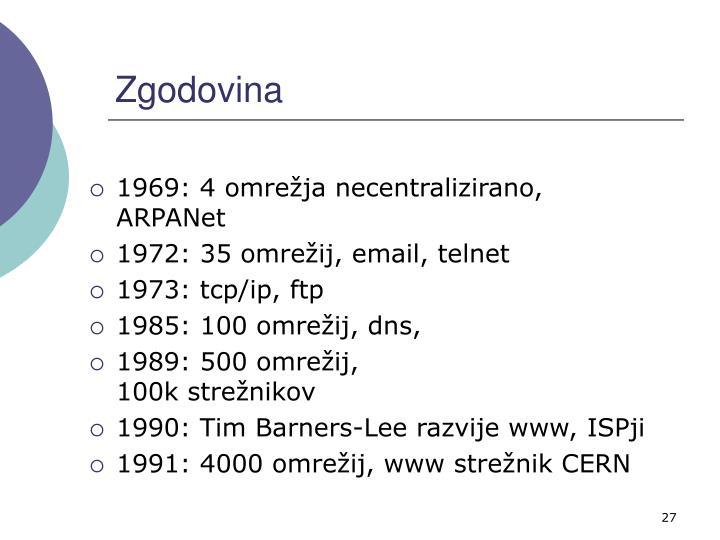 1969: 4 omrežja necentralizirano, ARPANet