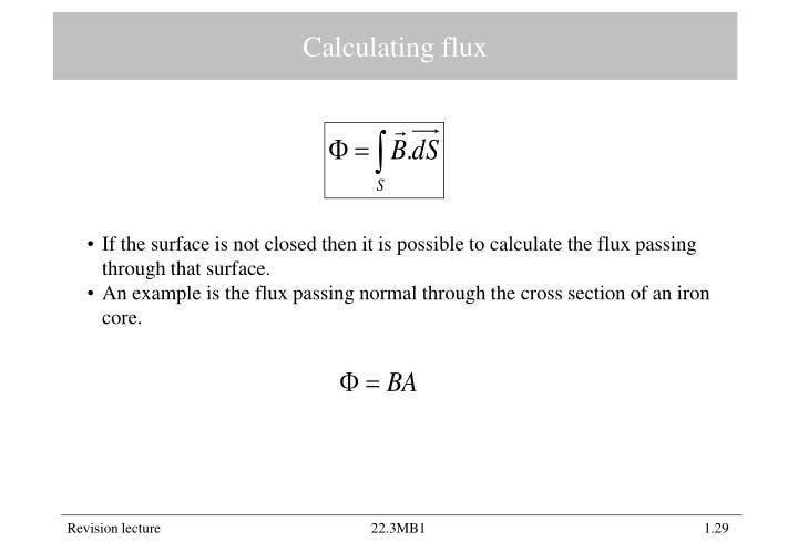 Calculating flux