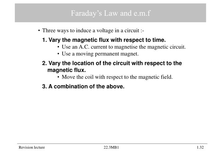 Faraday's Law and e.m.f