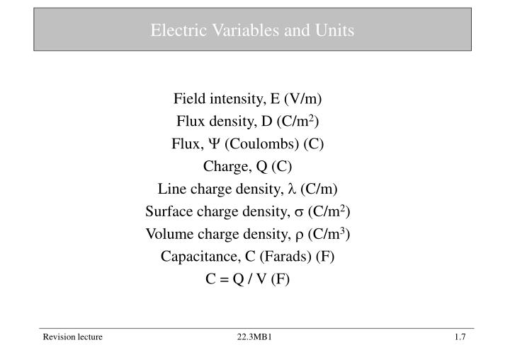 Electric Variables and Units