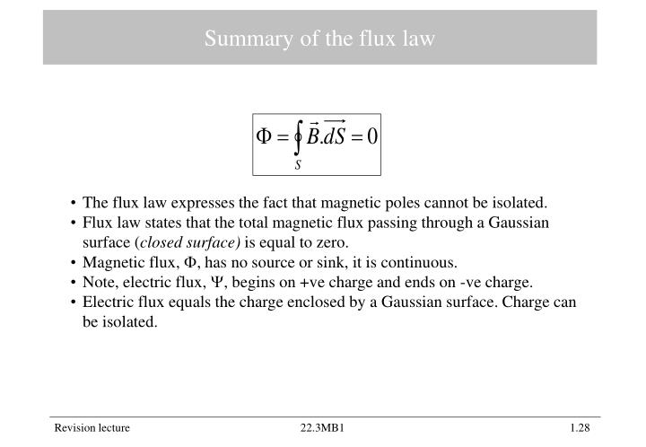 Summary of the flux law
