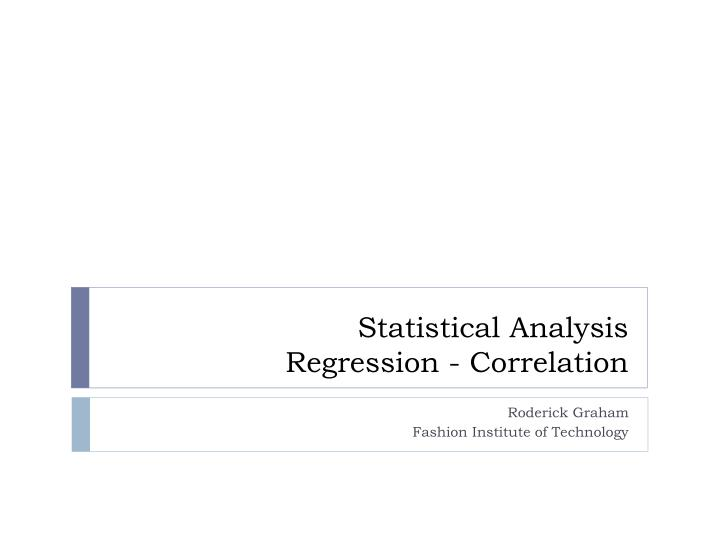 statistical analysis regression correlation