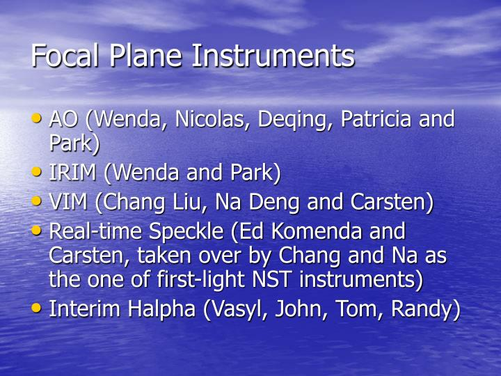 Focal plane instruments
