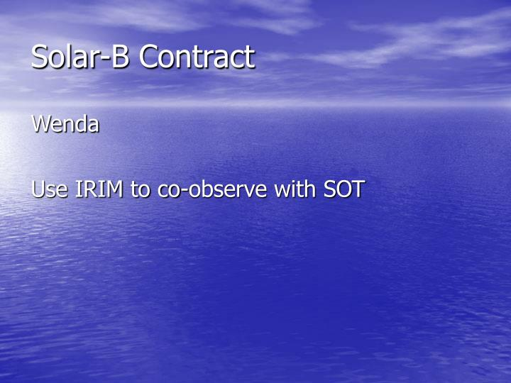 Solar-B Contract