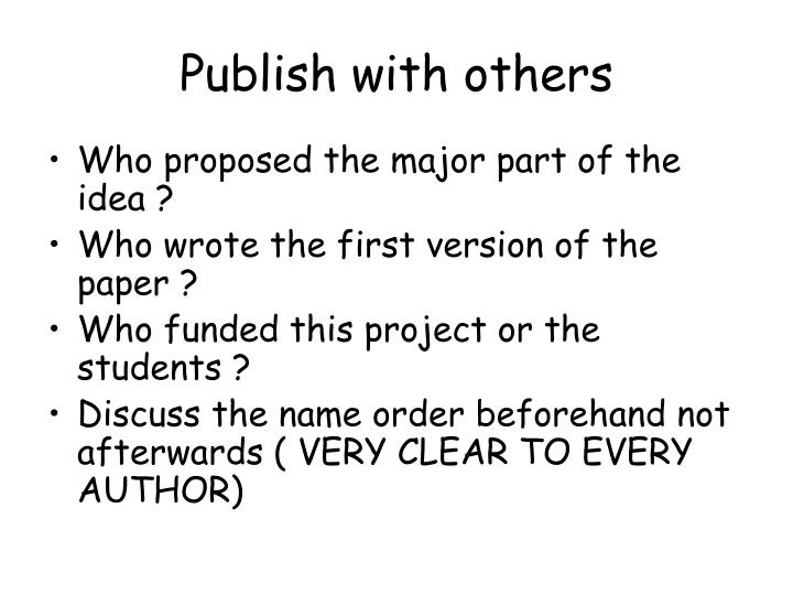 Publish with others