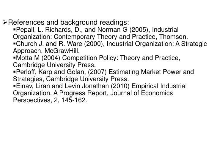 References and background readings: