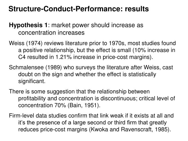Structure-Conduct-Performance: results