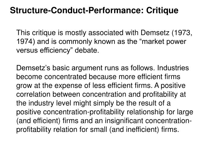 Structure-Conduct-Performance: Critique