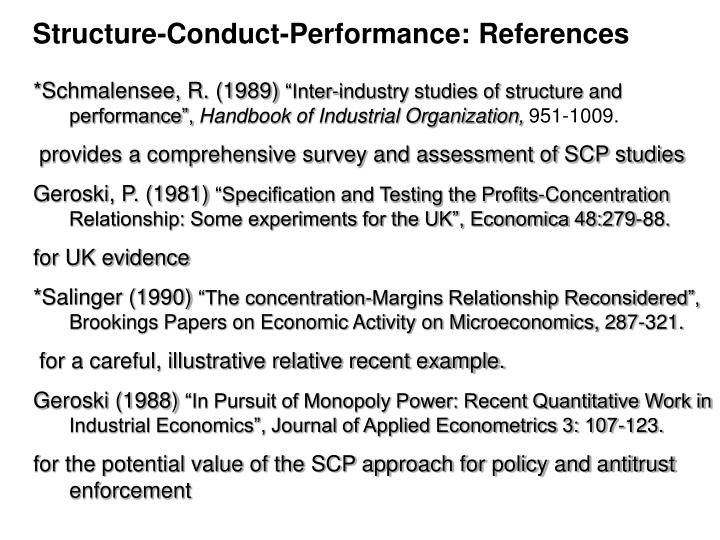 Structure-Conduct-Performance: References
