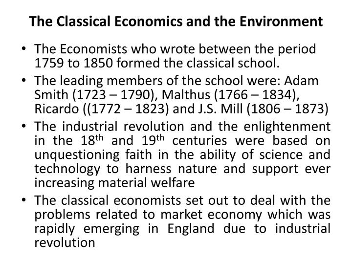 The Classical Economics and the Environment