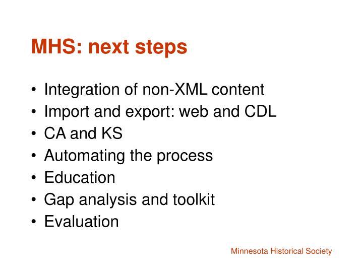 MHS: next steps