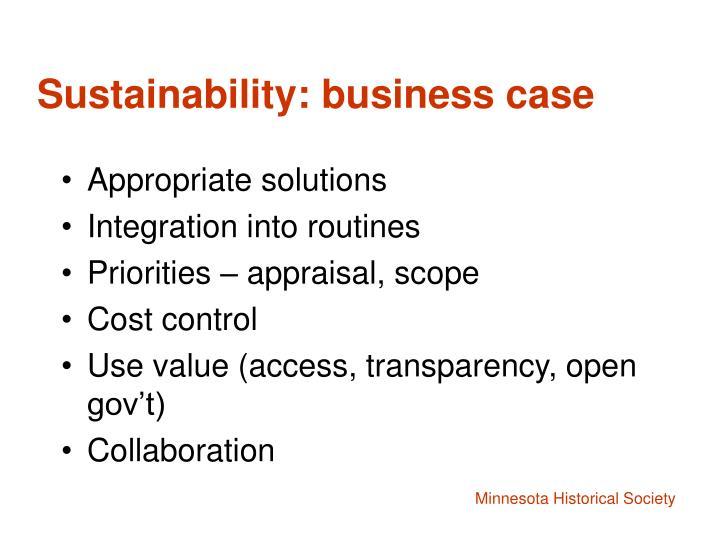 Sustainability: business case